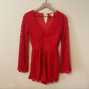 Francesca's Red Lace Romper Size XS